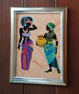 Glass hand painted framed wall art African lady- Black native woman-Afrocentric