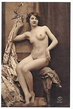 Postcard Risque Nude Naked French Lady Woman, Erotic Erotism, Repro Card 47K