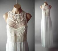 Ivory Crochet Lace White Bohemian Goddess Wedding Gown Maxi 293 mv Dress S M L