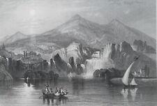 CROATIA Illyria Waterfalls at Krka - 1854 Engraving Print