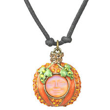 Kirks Folly Seaview Moon Petite Pumpkin Cord Necklace-Orange Aurora Borealis