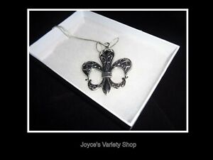 Large Silver Tone Metal Fleur De Lis Pendant Necklace NEW Saints .925 Chain