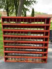 Primitive Antique Parts Cupboard OOAK Orange Metal Dividers Heavy Vintage