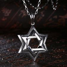 Star of David Cross Pendant & Necklace Chain christian Israel Jewish - Silver