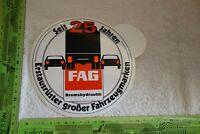 Alter Aufkleber Räder Reifen Bremshydraulik FAG Seit 25 Jahren