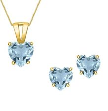 10kt Yellow Gold Finish/925 Hearts Shaped Aquamarine solitaire Necklace Pendant