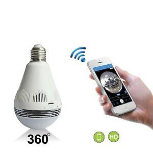 Led Bulbs 1080P Home WiFi Camera 360 Degree Panoramic Wireless Security Camera