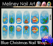 Blue Christmas Full Cover Glitter Nail Art Wraps Stickers Santa tree Snowflake