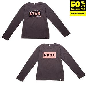 ESPRIT T-Shirt Top Size 8-9Y / 128-134CM Sequined 'ROCK STAR' Front Round Neck