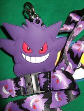 Nwt Pokemon Mad Gengar Lanyard Keychain Detachable & Rubber Charm Anime Nintendo
