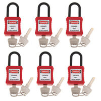 6 Pieces Safety Security Lockout Padlock Keyed, PVC Engineering Plastic Red