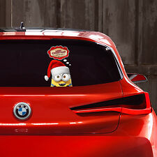 Minion bob coup d'oeil de noël souhaits autocollant fenêtre autocollant voiture pare-chocs cadeau nouveau