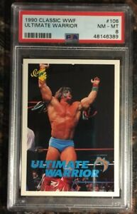 1990 Classic WWF #106 Ultimate Warrior RC Rookie PSA 8 NM-MT Wrestling Card