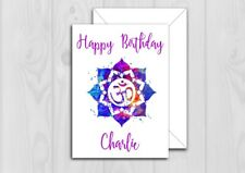 Personalised Yoga Birthday card Mum Sister Friend Daughter Dad Brother Any Name