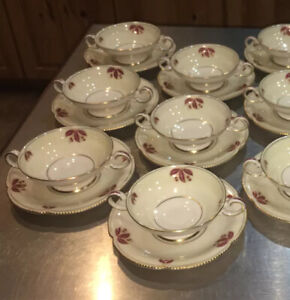 Castleton China Jubilee Cream Soup Cups w Saucers 8 Total Sets Red Flower