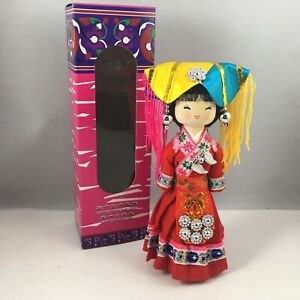 """Chinese 7""""H Handmade Collectible Minority Nationality Miniature Wooden Doll NEW!"""