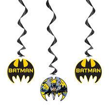 BATMAN Gotham Hero HANGING DECORATIONS (3) ~ Birthday Party Supplies Foil Swirls