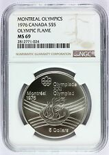 1976 Canada Montreal Olympics Olympic Flame Silver $5 Coin - NGC MS 69 - KM# 110