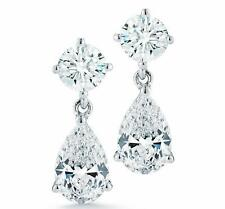 2.00CT PEAR CUT ROUND BRILLIANT DROP DANGLE PUSH BACK EARRINGS 14CT WHITE GOLD