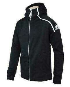 Adidas Men's ZNE Track Top Hooded Training Jacket Full Zip Black White Size 2XL