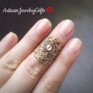 Gold Art Nouveau Moonstone Ring Adjustable