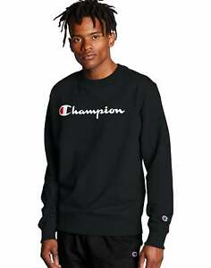 Champion Men's Sweatshirt Powerblend Crew Neck Script Logo Athletics Midweight
