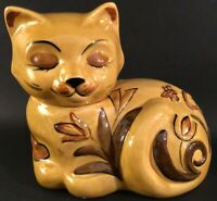 "LOS ANGELES POTTERIES CAT COOKIE JAR BEES FLOWERS VINTAGE MCM 11"" GOLD BROWN"