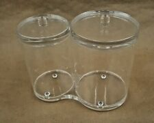 Vintage Clear Acrylic Lucite Dresser Vanity Set Q Tip Cotton Ball Holder