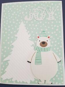 Christmas card kit using Stampin Up/Papertrey, joy, polar bear
