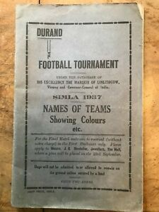 Durand Football Programme Simla India 1937 Football Programme