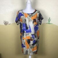 New York and Company Size Small Tunic Top Short Sleeve Blue Orange