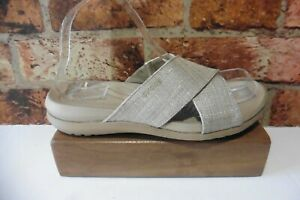 CROCS DUAL COMFORT BEIGE SPARKLE SLIP IN SANDALS SIZE 8W UK 6
