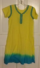 Yellow With Turquoise Trim Tunic Dress Size Small