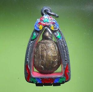 REAL RARE TURTLE LP NGERN THAI MINI BUDDHA AMULET LUCKY MONEY