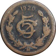 Mexico 5 Centavos Mo 1920 Bronze, KM# 422.