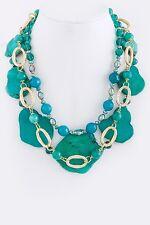 D20 Kim Lou e Designer Turquoise Green Stone Gold Statement Necklace