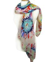 NEW Soft Multicolor Floral Polka Dots Print Light Beige Wrap Scarf