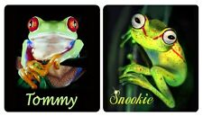 4 Frog Decals Bumper Stickers Personalize With Text Or Name Green Frogs 3' x 4""