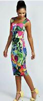 Boohoo Myla tropical Print Sweetheart Midi Bodycon dress, UK 8