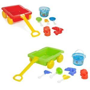 Pilsan 06112 Sandspielzeug Set mit Ziehwagen, Eimer, Förmchen, Schaufeln, Rechen