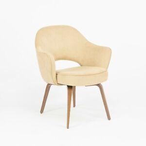 2020 Eero Saarinen for Knoll Executive Arm Chair with Tan Suede & Wood Legs 2x