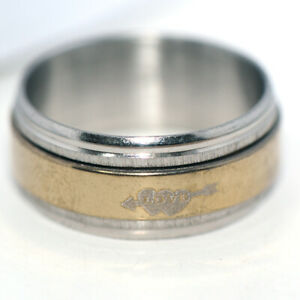 Big Mens Rings Womens Heart Stainless Steel Hip Hop Band Spinner Ring Size 10