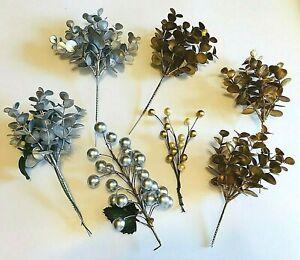 7 Pc Lot Christmas Winter Picks Stems ~ Gold Silver Eucalyptus Leaves Balls