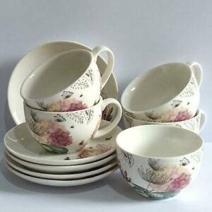 Hydrangea & Flower Design Fine China Cups and Saucers x 5 - Imperfection