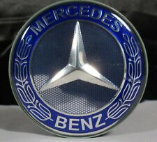 Mercedes Benz Wheel Center Cap Emblem Blue Chrome Hub AMG 75MM # A1714000025