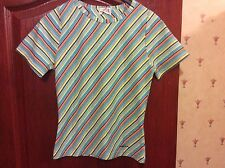 Ladies Sporty Striped Turquoise/Azure stretchy T-Shirt in size M/L from Mixin