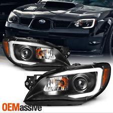 Fits 2006-2007 Subaru Impreza WRX Outback Black LED DRL Projector Headlights Set