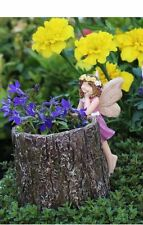 Miniature Tiny Fairy Stump Planter Pink Dress 1593P Fairy Garden  Dollhouse