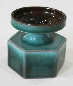Vintage Turquoise Green Glaze Guernsey Studio Pottery Candle Holder