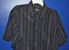 Haggar Mens Size L Black/Gray Washable Linen Button Front Shirt Great Condition